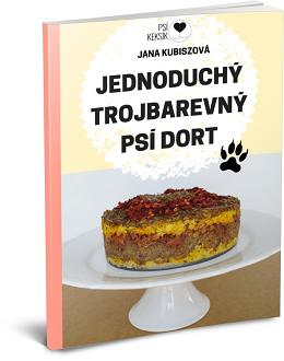 Jednoduchý trojbarevný psí dort
